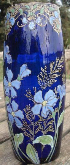 Glass Art Nouveau enameled blue Vase Ovoïde verre Emaillé Legras non signé                                                                                                                                                                                 Plus