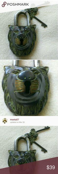 Brass lock Antique lion shape brass lock Accessories Key & Card Holders