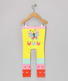Take a look at this Yellow & Pink Butterfly Leggings - Infant by Doodle Pants on #zulily today!