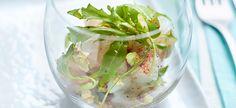 Delhaize - Tartaar van zeebaars met hazelnoten en rucola