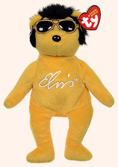 Solid Gold Beanie, Elvis Presley themed Ty bear reference information and photograph. Beenie Babies, Rare Beanie Babies, Beanie Baby Bears, Ty Babies, Ty Beanie Boos, Ty Stuffed Animals, Ty Bears, Teddy Bear Cartoon, Paddington Bear