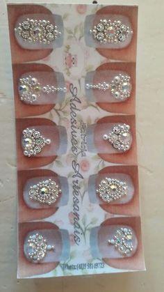 Rhinestone Nails, Bling Nails, Nail Jewels, Gem Nails, Nail Ring, Nail Accessories, Bridal Nails, Toe Nail Art, Nail Trends