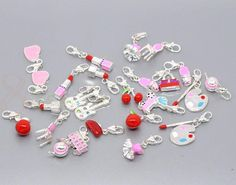 Very cute: Mixed Silver Plated Enamel Clip On Charms