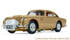 Corgi CC04206 James Bond Aston Martin DB5 in gold – Thunderball 50th Anniversary Limited Edition number 1264 of 2500. Made in China.  This is a very limited edition in gold and displayed in a special retro-styled anniversary box. Features include:  •Working ejector seat •Front-mounted machine guns •Bullet-proof screen  The car first appeared in the 1964 film 'Goldfinger, the third film in the James Bond series.