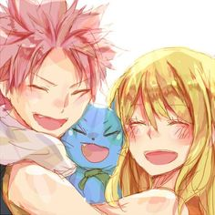 Natsu and Lucy...And Happy from Fairy Tail