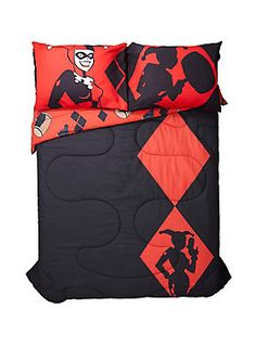 "<div>Get your beauty sleep under this reversible full/ queen size comforter from DC Comics. It has a black and red Harley Quinn silhouette design on one side and a red background with various weapons on the other. </div><div>Sheets and pillowcases not included.</div><div><ul><li style=""LIST-STYLE-POSITION: outside !important; LIST-STYLE-TYPE: disc !important"">Covering: 100% polyester</li><li style=""LIST-STYLE-POSITION: outside !important; LIST-STYLE-TYPE: disc !important"">Filling: 100% ..."