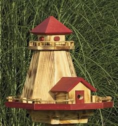 Amish Wooden Lighthouse Bird Feeder and Birdhouse Combo