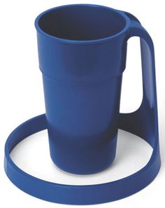 """Reduce accidental spills with the wide """"halo"""" base design of the Halo Cup, a drinking aid that made to provide extra stability.   The unique handle of the Halo Cup means it can be held by individuals who lack gripping power and is sized to fit smaller hands."""