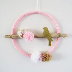 Attrape rêve bird oiseau bois flotté rose blanc doré chambre fille moderne tendance