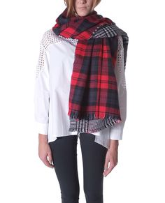 Flipside Plaids Scarf double sided check (Plaids scarf has different color combinations each side, Fringed finish edges)