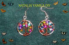 Aros pendientes / aretes artesanales Arbol de la vida , en acero e hilo de cobre , con mostacillas multicolores Handmade Tree of Life earrings DIY