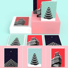 In From The Storm Brutalist Architecture Christmas Cards Featuring The Barbican, Glenkerry House And Welbeck Street Car. Welbeck Street, Holiday Cards, Christmas Cards, Barbican, Christmas Is Coming, Brutalist, White Envelopes, Architecture Design, Stationery