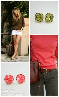 Love the color combination of khaki and watermelon!  Summer fashion |  khaki fashion | summer style | streetstyle | what to wear | summer | www.endorajewellery.etsy.com