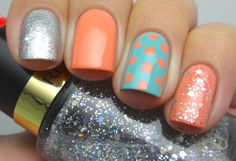 Silver, Coral, & Turquoise mix-n-match nail art