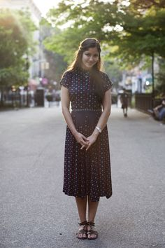 lovely simple dress & hair on the satorialist