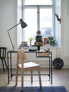 IKEA Vittsjo desk - a simple small-space solution, and it could be spray-painted a different color before assembling it