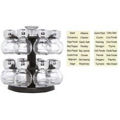 Revolving 16-Glass Black Jar Carousel Spice Rack