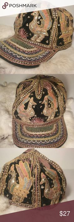 "EVC STUNNING beaded cap birds O/S Birds and swirls of regal colors adorn this vintage cap. No stitches or beads missing that i see. Standard size 22"" band. Accessories Hats"