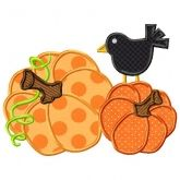Pumpkins and Crow Applique could use for scrapbook design too