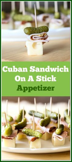 This Cuban Sandwich On A Stick Appetizer is so quick and easy to make. With only 4 ingredients, this is the perfect little party food.