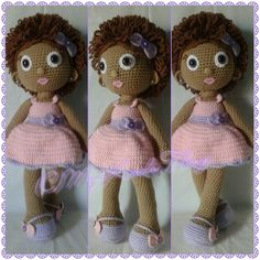 Crochet Doll; brown girl with curly brown hair and crochet bow accents on her shoes, dress and in her hair!