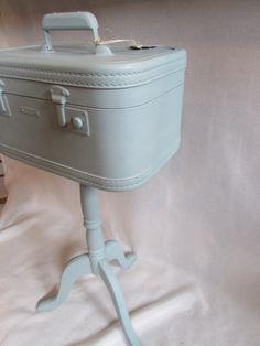 Suitcase table, makeup case accent table