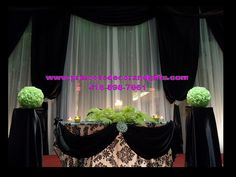 Black & White Decor - Damask Print - Backdrop, head Tables, Cake Table - @ The Grand Victorian Banquet - Mississauga by Princess Decor & Gifts 416-898-7061, via Flickr