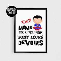 """Poster A4 super héro pour enfant """"Même les superhéros font leurs devoirs"""" - Affiche citation de super héros"""