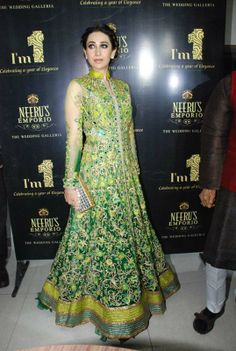 Karishma Kapoor at Neeru Emporio Anniversary event #Green #Bollywood #Anarkali #Gown #KarishmaKapoor #Fashion