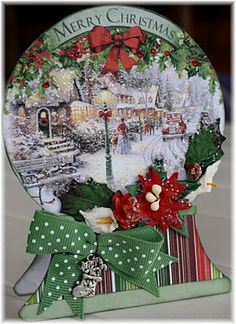 Merry Christmas snow globe -upcycle old christmas cards Christmas Card Crafts, Christmas Cards To Make, Xmas Cards, Handmade Christmas, Holiday Cards, Recycled Christmas Cards, Christmas Ornament, Ornaments, Christmas Snow Globes