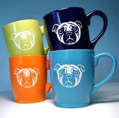 Check out these 16oz sad pug dog mugs from Bread and Badger