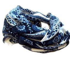 Atlantic Avenue Scarf. Blue and White China Print Floral Patterned Infinity Scarf, Womens Spring Scarf, Flower Pattern, Wide Infinity Scarf