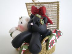 Polymer Clay Kitty Cats in a Basket with Ohio by HelensClayArt, $15.95