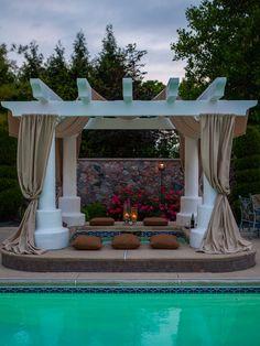 with pergola.Outdoor Living - mediterranean - pool - other metro - CDI: Choice Designs, Inc. Backyard Pool Designs, Backyard Pergola, Pergola Designs, Patio Design, Pool Landscaping, House Design, Outdoor Spaces, Outdoor Living, Outdoor Decor