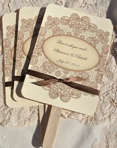 Personalized Wedding Favor Fans - Vintage Lace w/ Ribbon. Good idea for an outdoor wedding! #fairgateinn
