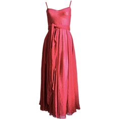 1970's HALSTON fuchsia lurex gown | From a collection of rare vintage evening dresses at https://www.1stdibs.com/fashion/clothing/evening-dresses/