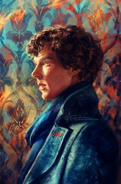 Portrait of Sherlock ~ Benedict Cumberbatch artwork | by Alice X. Zhang via tumblr