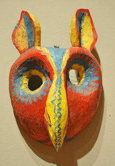 wooden owl mask from the Nahua community of Suchitlan, Colima, Mexico. From the Ruth Lechuga collection exhibited at the Mexican Cultural Institute in Washington, DC