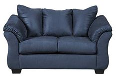 Talk about fine lines and great curves. Thats the beauty of this loveseat. made to suit your appreciation for clean. A striking flared frame. comfy pillow top armrests and an ultra-soft upholstery that holds up to everyday living . Ashley Furniture Sofas, Ashley Furniture Industries, Furniture Ideas, Deck Furniture, Blue Loveseat, Ashley Sofa, Microfiber Sofa, Buy Sofa, Online Furniture Stores
