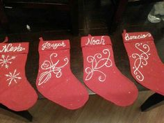 Kiddos stockings done with puffy paint and a pinch of glitter!