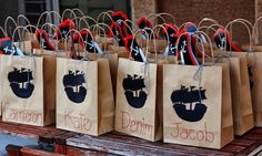 Pirate Birthday - favor ideas, use brown paper bags and print out silhouette of pirate ships to paste to them. 1st Birthday Favors, Pirate Birthday, Pirate Theme, Birthday Party Themes, Boy Birthday, Pirate Sword Diy, Underwater Birthday, Pirate Party Favors, Favor Bags