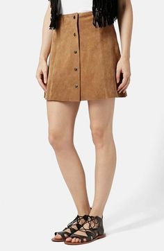 Topshop Suede A-Line Skirt available at #Nordstrom