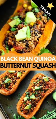 Vegan stuffed butternut squash is full of black beans quinoa and Mexican spices Topped with avocado and cilantro it s a healthy and delicious meal the whole family will enjoy Vegan Butternut Squash Recipes, Butternut Squash Enchiladas, Roasted Butternut Squash, Quinoa Squash, Bean Recipes, Vegetarian Recipes, Healthy Recipes, Mexican Recipes, Vegan Dishes