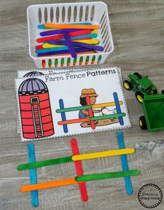 Preschool-Farm-Theme-Fun-Preschool-Pattern-Building-Game Maybe turn into dominoes? with sight words? Farm Animals Preschool, Preschool Games, Preschool Crafts, Preschool Farm Theme, Farm Theme Classroom, Preschool Classroom Centers, Farm Theme Crafts, Preschool Education, October Preschool Themes