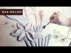 Bas-relief made of gypsum putty (Orchids) - YouTube Clay Wall Art, Clay Art, Plaster Paint, Gypsum, Modern Sculpture, Mural Art, Flower Art, Art Flowers, Wall Sculptures