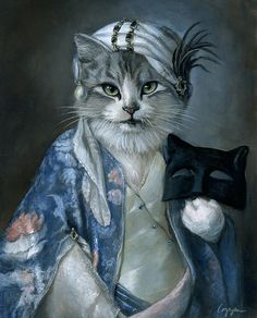"""Frannie"" by Melinda Copper, anthropomorphic cat in costume"