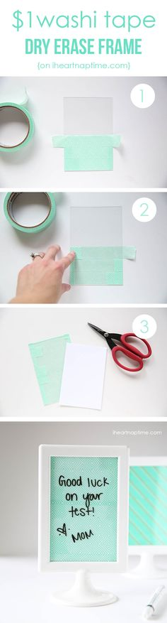 DIY Cheap Washi Tape Frame Ideas by DIY Ready at http://diyready.com/100-creative-ways-to-use-washi-tape/