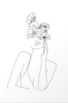 Abstract One Line Woman Drawing Art Canvas Minimalist Art