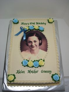 I dig this idea.  Obviously not with flowers, but I like the general look of it.  90th birthday cakes
