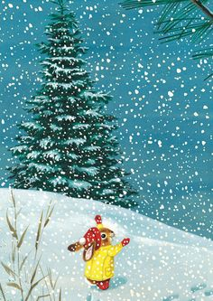 """Richard Scarry illustration from """"I Am a Bunny,"""" 1963 Christmas Illustration, Children's Book Illustration, Graphic Design Illustration, Richard Scarry, Sweet Drawings, Cartoon Drawings, Art Mignon, Baby In Snow, Vintage Children"""